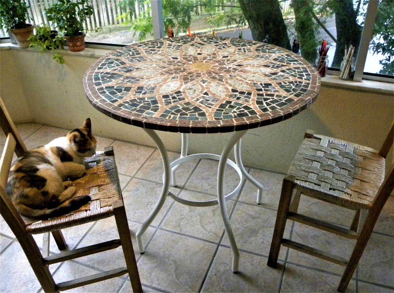 Mosaico mesa em mosaico vitral arabe de pedras for Mesas de mosaico